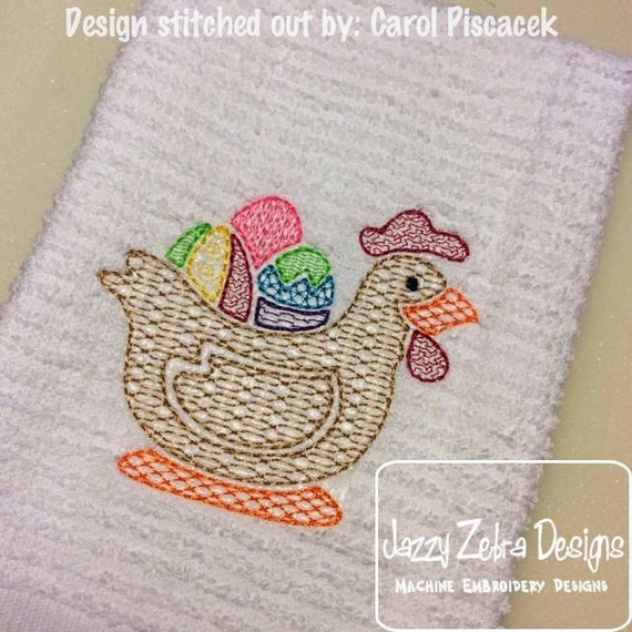 Chicken with easter eggs motif filled embroidery design - Easter embroidery design - chicken embroidery design