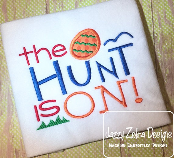 The Hunt is on saying appliqué embroidery design - Easter appliqué design - Easter embroidery design - boy appliqué design - easter egg