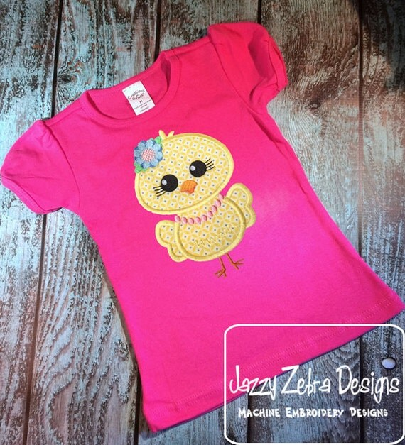 Chick Girl with flower applique embroidery Design - Easter appliqué design - chick appliqué design - farm appliqué design - baby chick