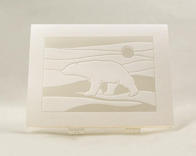 Polar Bear Card. Modern Christmas card Letterpress. White Holiday card. Single card. Blank inside.