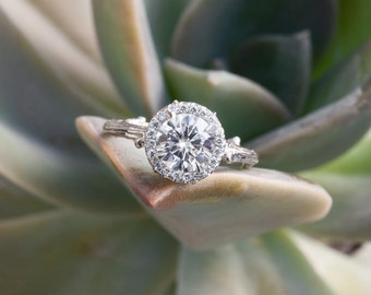 Halo Twig Engagement Ring with Forever One Moissanite Center