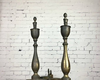 Antique Andirons Brass Andirons 1920s Ornate Brass Fire Place Andirons Two Old Brass Fire Place Andirons