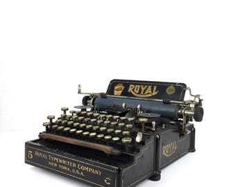 Rare Royal Typewriter Antique Royal Typewriter No 5 Vintage 1900s Industrial Typewriter  Royal No 5 Typewriter