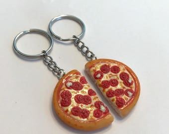 Pepperoni Pizza Halves Key Chains, Polymer Clay, Food Accessories, BFF