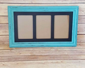 Picture Frame 3 Windows 4 x 6 Turquoise Wood Up Cycled Eco Friendly READY TO SHIP
