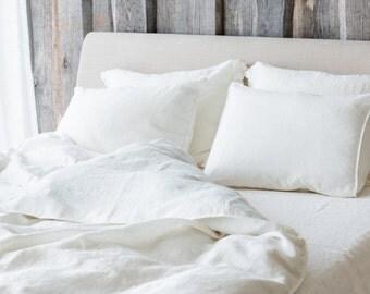 Linen PILLOWCASE, Stonewashed linen pillow case in white , Softened linen pillow slip, Regular organic linen pillow cover, Linen pillow slip