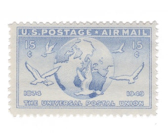 5 Unused Vintage Postage Stamps - 1949 15c Airmail Globe and Doves -  Item No. C43