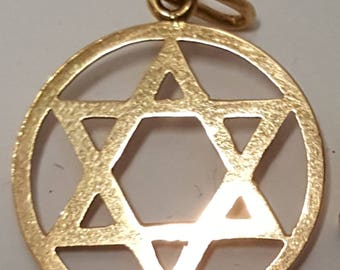 Vintage 14K Yellow Gold Judaica Pendant Magen David, Star of David, Dia.1.9 cm