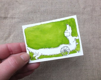 """Original Dachshund ACEO, Sausage Dog Drawing, Mini Art, Small Artwork Dog, Ink Painting, OOAK ACEO, one off, Green Wiener Dog, 3.5x2.5"""""""