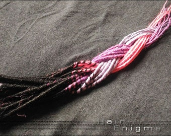 Black, Pink & Purple Transitional Micro Dreads
