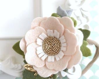 Felt Flower Crown. Baby Shower Gift. Porcelain Blush Dainty Hair Flowers. Birthday Flower Headband. Blush Infant Flower Headpiece.