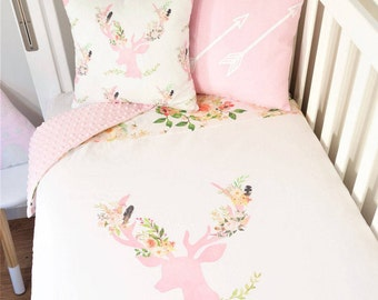 Floral pink deer nursery items