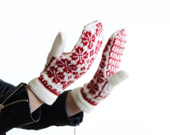 hand knit mittens - Scandinavian patterned gloves mittens - red and white knitted arm warmers - nordic pattern gloves - knitted mitts - gitf