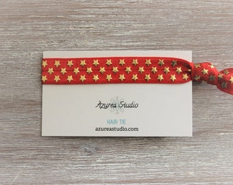 Red Gold Stars Hair Tie