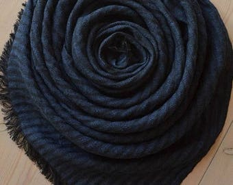Blue and Black Striped LINEN Scarf, Navy Scarf, Men Scarf