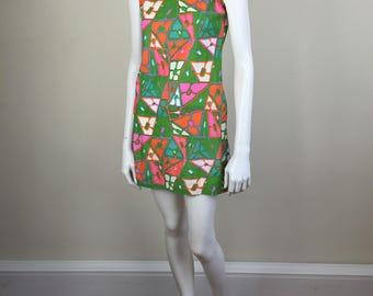 mod bright geometric print tank minidress 60s