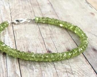 Genuine Peridot Bracelet / Sterling Silver or Gold Clasp / Green Natural Stone Jewelry / Women's or Men's Beaded Bracelet