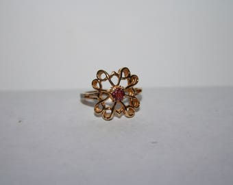 STUNNING Vintage Sterling Silver Gold plated AVON Ring with Raspberry Garnet Sz 6.5