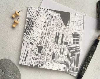 York Minster card – York architecture – Cathedral art –wedding card – anniversary card –York landmark – Housewarming card –Bon voyage