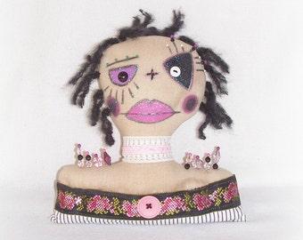 Glamorous Doll Bust Folk Art Pincushion Shelf Sitter Doll Bust Home Decor Folk Art Weighted Rag Doll Pincushion Painted Doll Bust Art Doll