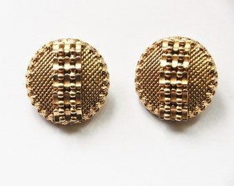 Julio Marsella Gold Toned Ear Clips - Vintage Designer Earrings - Mid Century - Brutalist - Retro Jewelry