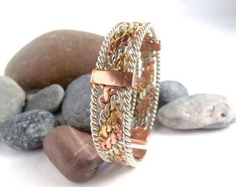 Mixed Metal Bracelet - Vintage Jewellery - Torque Bangle - Decorative