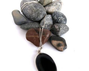 Black Pendant Necklace - Sterling Silver Necklace - Vintage - Oval Pendant