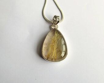 Gold Rutilated Quartz Pendant, Sagenite, Golden Rutile Quartz, Venus Hair Stone, Silver Pendant Necklace
