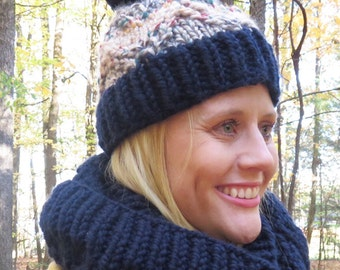 Bulky Chevron Cable Knit Hat