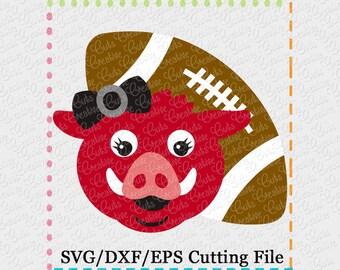 EXCLUSIVE SVG eps DXF Cutting File Hog Girl Football svg, mascot svg, football svg, hog svg, razorback svg, razorbacks svg