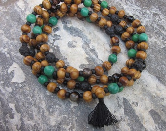 Mens Mala Long beaded necklace 108 bead mala women's prayer beads stone agate oil diffuser necklace long necklace tassel necklace green mala