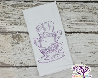 Stacked Teacups Kitchen Towel