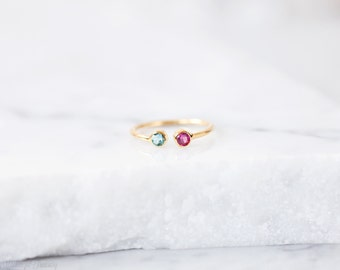 Dual birthstones ring - Two stones ring - 2 birthstones ring - Couples birthstone ring - Birthstone ring - Birthday ring