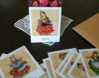 Polaroid vintage dolls, polaroid prints with vintage illustrations of dolls from different countries, set of 4-8-16 prints, fake polaroid