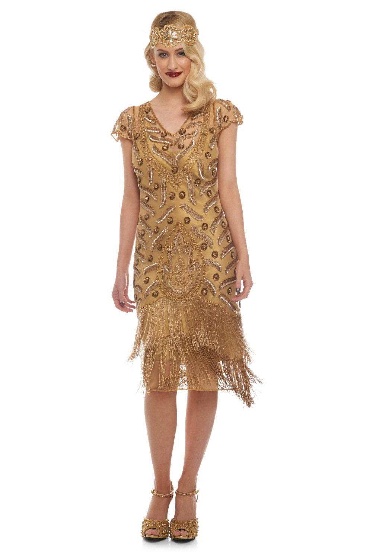 Vegas Plus Size Antique Gold Flapper Dress Slip Included