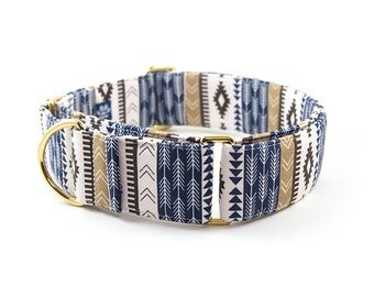 Southwest Martingale Collar // Size S-XL // Adjustable Length // Fabric: Cream, Tan and Navy Tribal Pattern