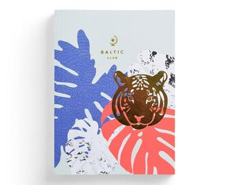 """Notebook with Golden Foil Tiger design – Lay-Flat binding – 5,75"""" x 8"""" – Ruled Pages"""