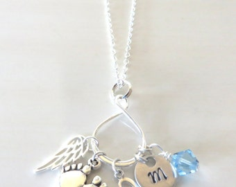 Infant Loss Eternity Hand Stamped Crystal Charm Sterling Silver Necklace YOU Choose Crystal Color and Number of Charms