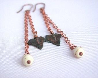 Leaf earrings, Autumn earrings, Fall earrings, Gemstones earrings,  Long earrings