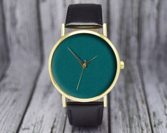 Teal Dial | Minimalist | Leather Watch | Ladies Watch | Men's Watch | Gift for Him for Her | Wedding Gift | Birthday Gift | Accessories