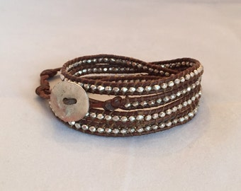 Thia Silver Brown 4 Wrap Bracelet