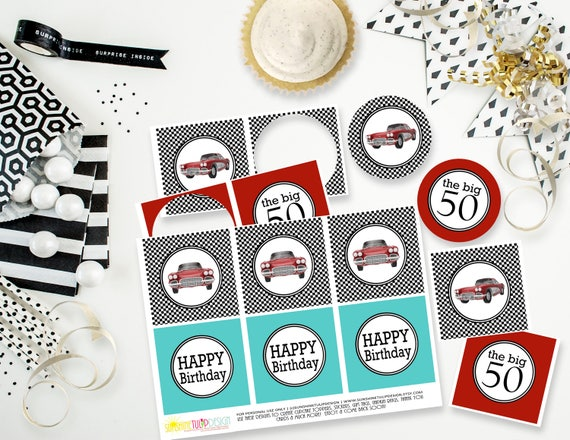 Printable 50th Birthday Fast Cars Cupcake Toppers