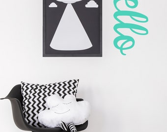Hello Wall Decal / Hello Sticker / Hello Sign / Kids Room Wall Decor / Kids Wall Decal
