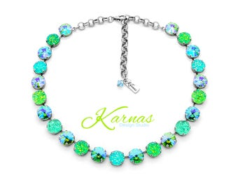 GREEN WITH ENVY 12mm Crystal Rivoli & Druzy Necklace Made With Swarovski Elements *Pick Your Finish *Karnas Design Studio *Free Shipping*