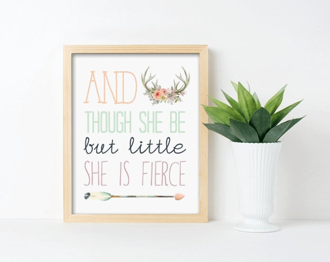 Nursery Art, And Though she be but Little she is Fierce, Framed, Canvas, Art Print #303