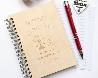 Personalised, Engraved My Mummy's Little Book of Notes, Mother's Day notebook, personalised notebook