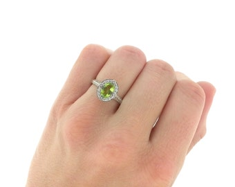 Vintage Peridot Diamond Halo Engagement Ring