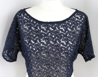 Midnight Navy Flowers Lace Loose Crop Top