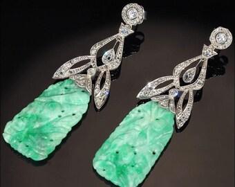 SALE Vintage Art Deco Diamond and Jade Earrings