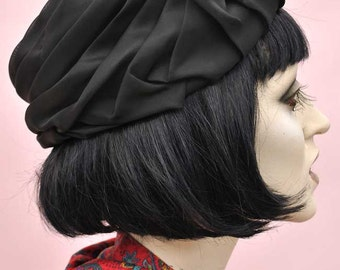 Vintage 50s Black Chiffon Turban Pillbox Hat